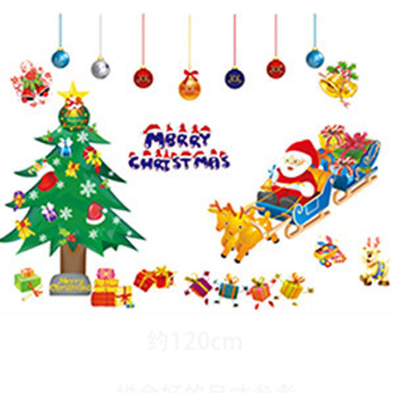 Merry Christmas PVC Removable Display Window Showcase Decor Wall Stickers Navidad Decoracao New Year Home Decoration Accessories