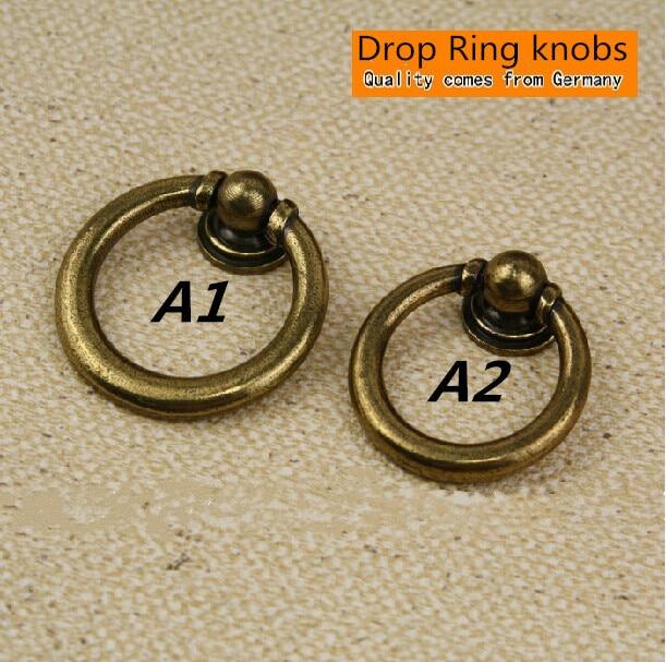 Shaky Drop Rings pulls knobs antique brass drawer cabinet knob bronze dresser cupboard furniture door vintage - Bright home decoration co.,ltd store