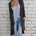 Women Casual Knit Cardigan Loose Hooded Sweater Outwear High Quality