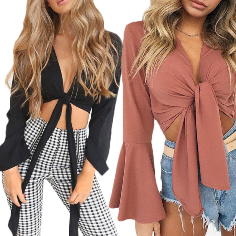Womens Tie Knot Front Flared Sleeve Plunge V Neck Crop Top Ladies Satin Lace Up Solid Long Sleeve Blouse Shirts New Fashion