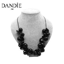Dandie Black Acrylic Bead Fashion Necklace Jewelry, Short Statement