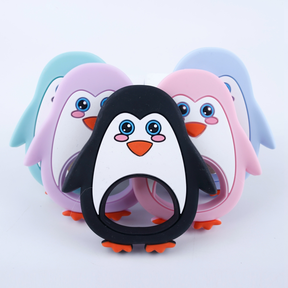 Bite Bites Animal Penguin Silicone Teether Food Grade Baby Nursing Accessories Teething Toy Charms Necklace Pendant Baby Teether