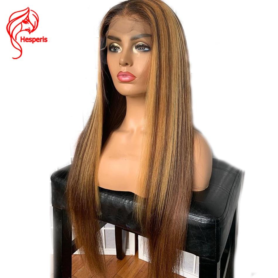 Hesperis13x6 frente do laço peruca de cabelo humano marrom e loiro destaque perucas remy brasileiro 360 peruca frontal do laço loira destacado