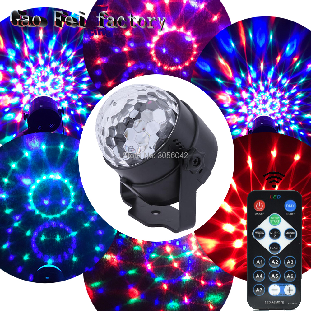 IR Remote Control Led RGB Mini Stage Light Party Disco Club DJ Light Show Magic Crystal Ball Lamp 3W Laser mini rgb led stage light 3w remote controls light disco ball lights led party lamp show stage lighting effect usb powered dv 5v