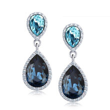 5 Colors Fashion Long Earrings For Women Brincos Blue Water Crystal Earring Romantic Stone White Wedding Jewelry(China)
