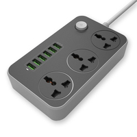 New Home Electronic Power Strip 3 Ports 6 USB Outlets Fast Charging Standard Smart Sockets Plugs Interface Extension
