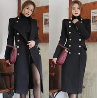 Black Casual Fashion Slim Double Breasted Cashmere Wool Coat Women Casacos Femininos De Inverno Feminino European