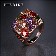 HIBRIDE Female Red Purple Multi-color RingS,Real Rose Gold Color Wedding Rings For Women Fashion Jewelry QSP0010-13