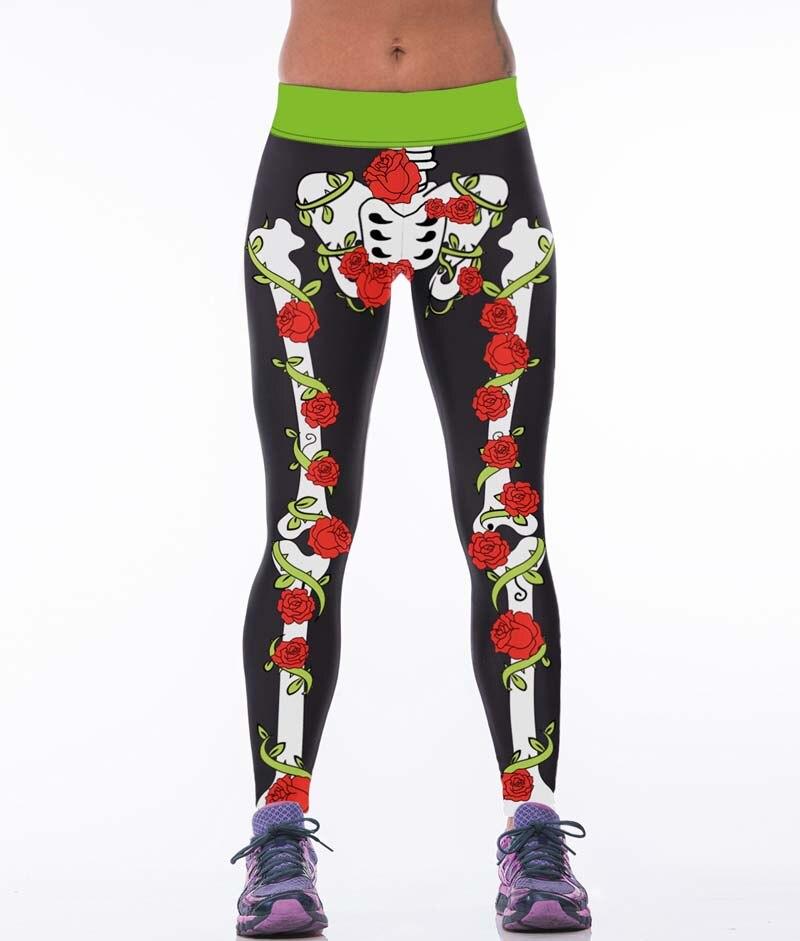 66b50746301b84 Galaxy 3D Druku Wzrosła Mieszane Czaszka Kobiety Legginsy Wysokie  Elastyczne Spodnie Leginsy Fitness Mujer