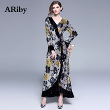ABiby Autumn Winter New Women Dress Winter Party Bodycon Dress Lotus Leaf Edge Velvet Print Vintage Mermaid V-Neck Long Dress vintage mesh panel leaf print dress
