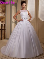 Gorgeous White Ball Gown Satin Vintage Wedding Dresses Vestidos De Novia Beaded Lace Appliques Wedding Gowns