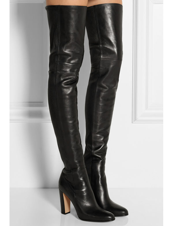 Plain Leather Black Thigh High Boots Square Heel Round Toe Zip Over Knee High Boots Autumn Shoe Fashion Motorcycle Booties Women choudory botines mujer black thigh high boots square heel round toe zip over knee high boots fashion motorcycle booties women