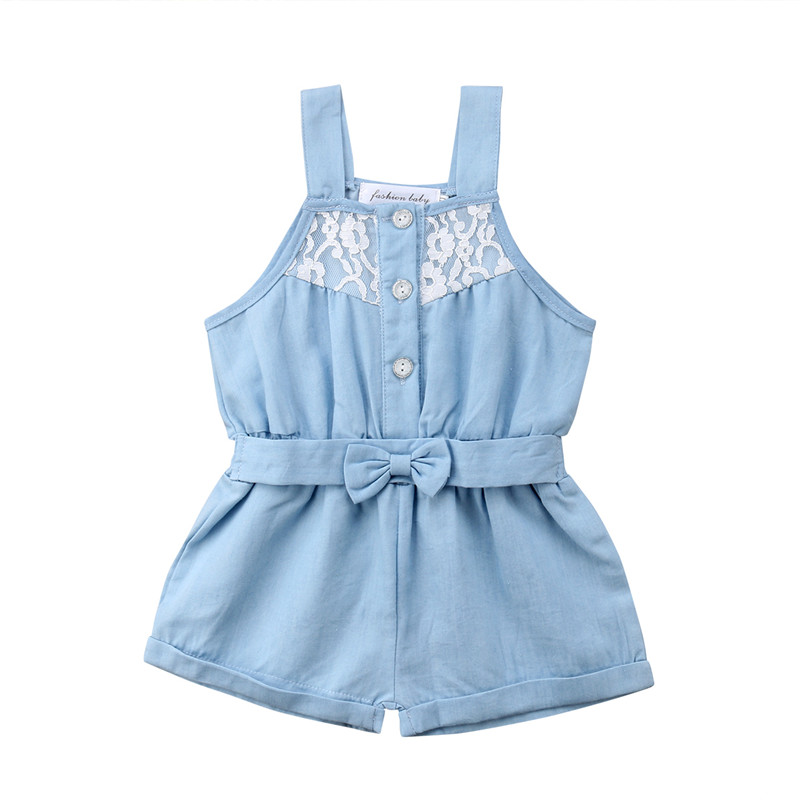 Newborn Kid Baby Girl Rompers Summer Sleeveless Denim Jumpsuit Bow Romper Girls Clothing Blue Lace Cute Sunsuit Outfit