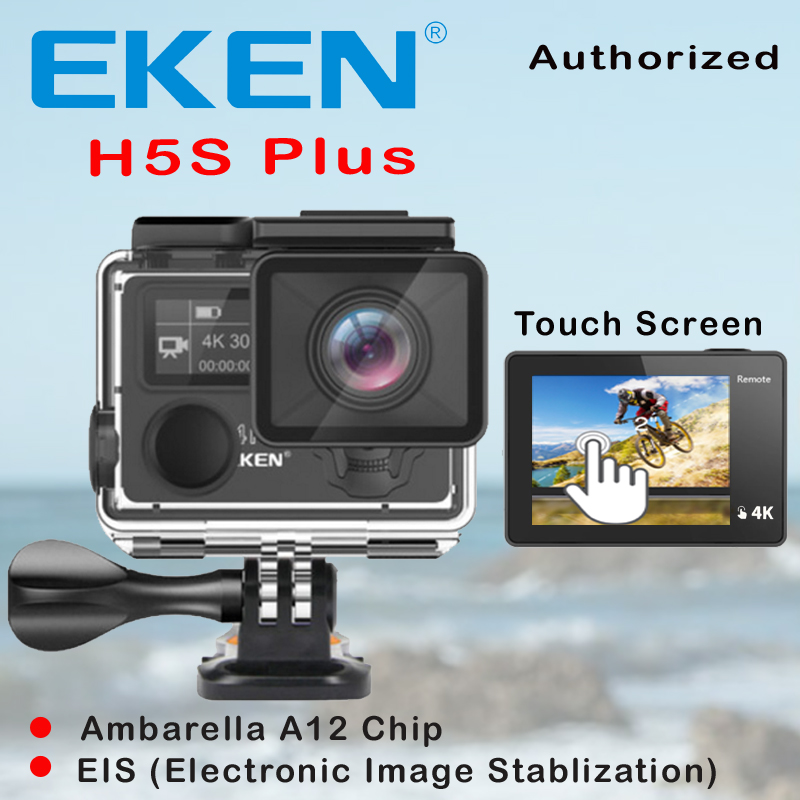 EKEN H5S Plus Ultra HD Action Camera Touch Screen Ambarella A12 EIS 4k/30fps 720p/200fps 30M waterproof go Helmet pro sport cam fat cat high precision cnc alluminum alloy lens strap ring for gopro hero 3 blue