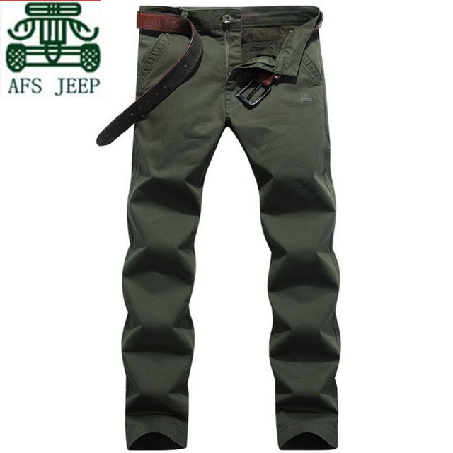 AFS JEEP 100% Cotton Men's Casual Length Trousers,Solid Man's Cotton Cardigan Mid Waist Leisure Trousers,Wholesale Man's Pants