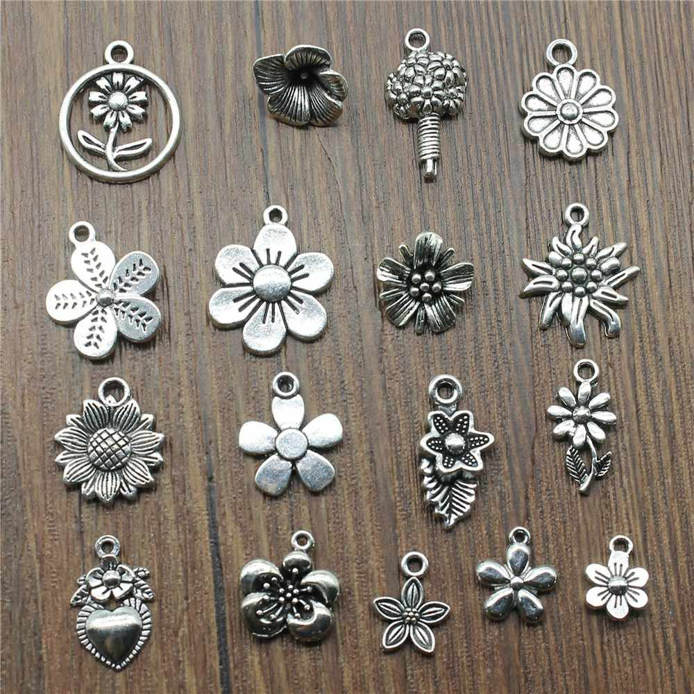 3 Piece Mix Flower Charms For Bracelet Making Antique Silver Color Sunflower Charms Jewelry Diy Daisy Charms