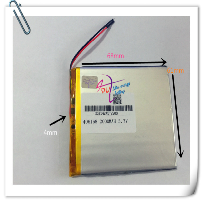 10pcs 3.7V 2000mAh 406168 <font><b>406070</b></font> Li-Po Lithium Polymer Rechargeable Battery For PAD GPS Vedio Game Tablet PC Power Bank E-Book image