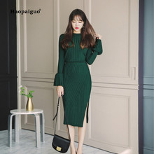 2 Piece Set Autumn Women Green Long Sleeve Vintage Elegant Flare Sleeve Knitting Top and Casual Wrap Skirt Two Piece Set Ladies 2 piece set women summer pink long sleeve o neck knitting casual top and wrap boho korean club mini dress two piece set ladies