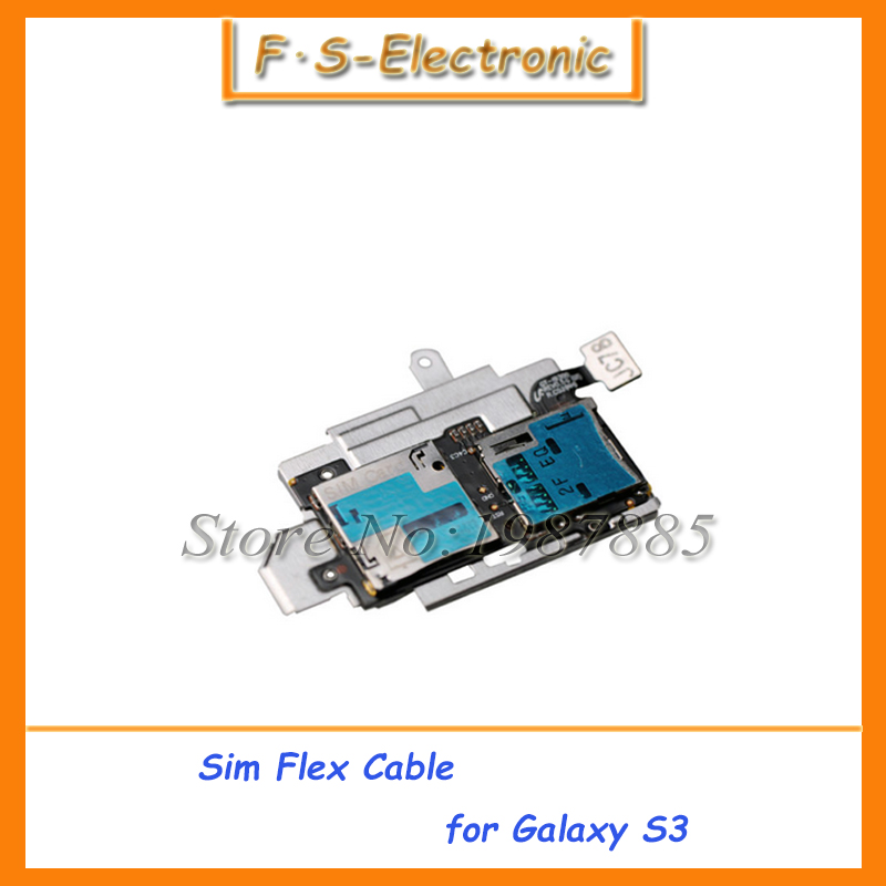 10pcs/lot Original Sim Card Holder Micro SD Memory Socket Slot Tray flex cable For Samsung Galaxy S3 S III i9300 Replacement