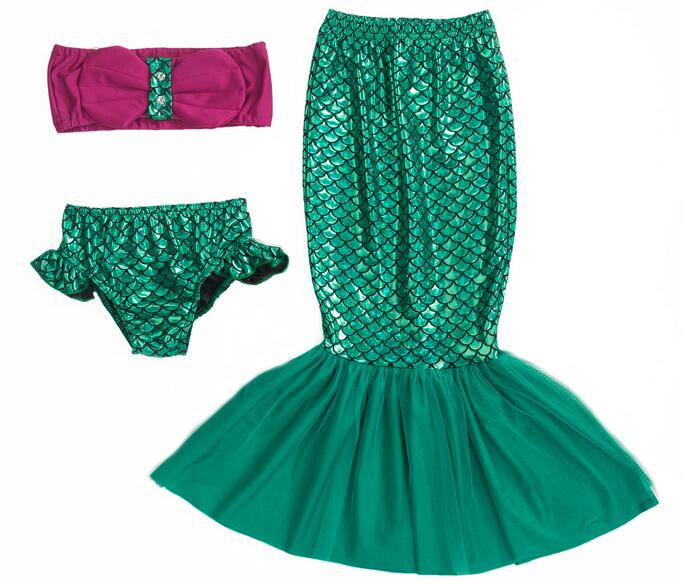 The Little Mermaid Tail Princess Ariel Dress Cosplay Costume Kids for Girl Fancy Green Dress Girls Summer Performance Clothing