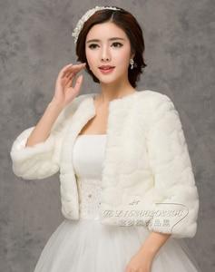 Image 4 - 2020 inverno noiva envoltórios de pele do casamento, jaqueta bolero de noiva baratos, tampas xale, tamanho grande, jaquetas de casamento, bolero de pele falsa