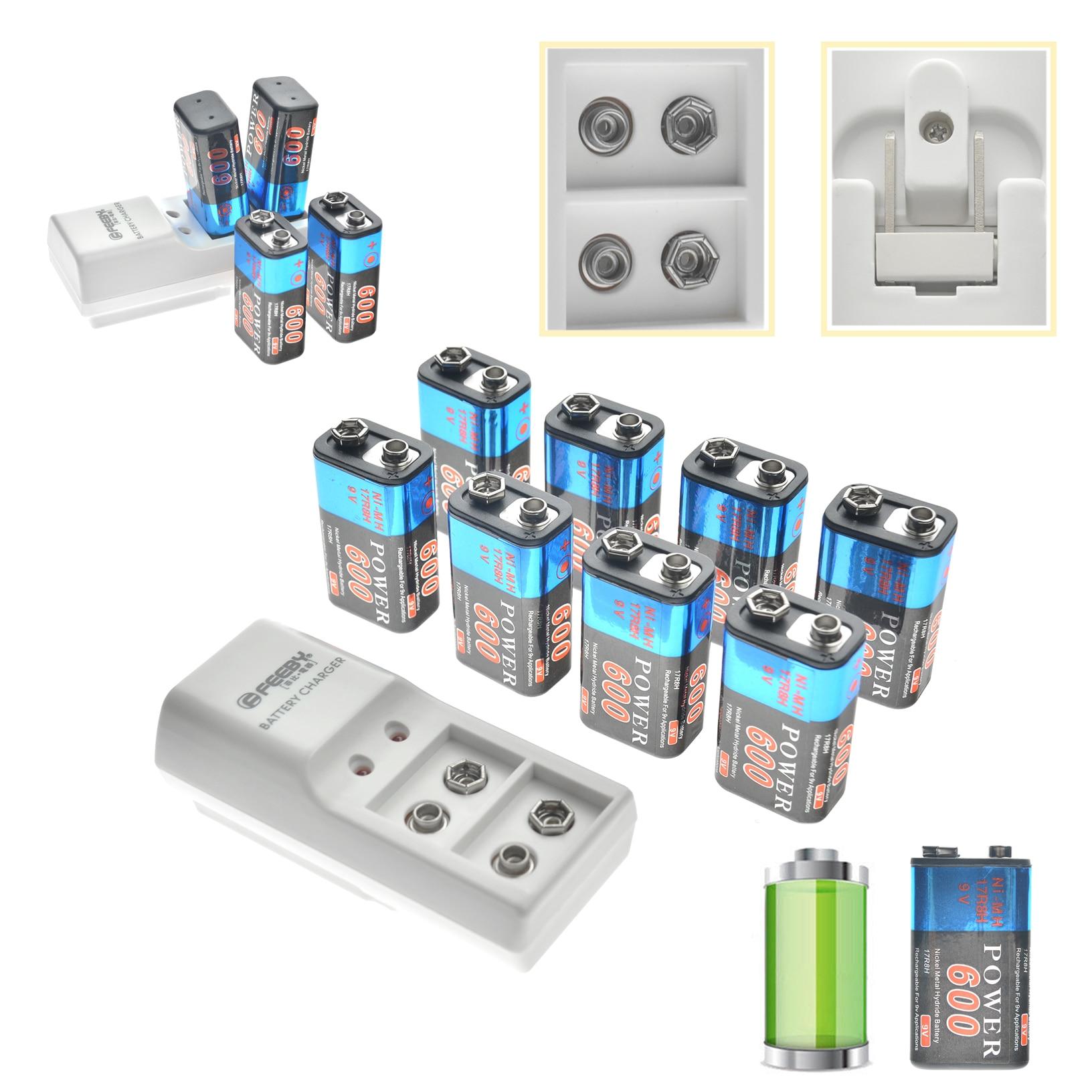 2/4/6/8/piezas 9 V 9 V 6F22 600 mAh Ni-MH batería recargable y de 9 voltios cargador alto volumen nos enchufe