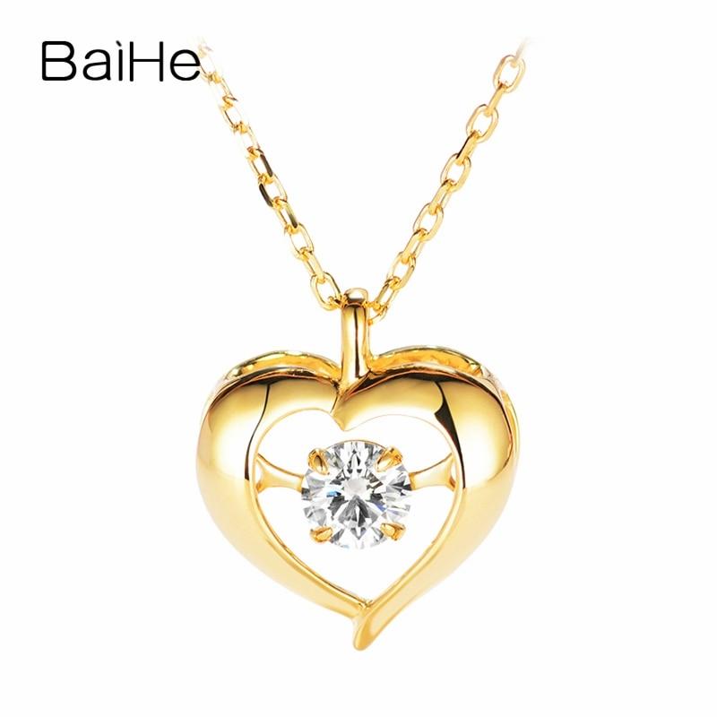 BAIHE solide 18 K or jaune 0.20ct certifié H/SI 100% véritable diamant naturel femmes Engagement à la mode bijoux fins colliers