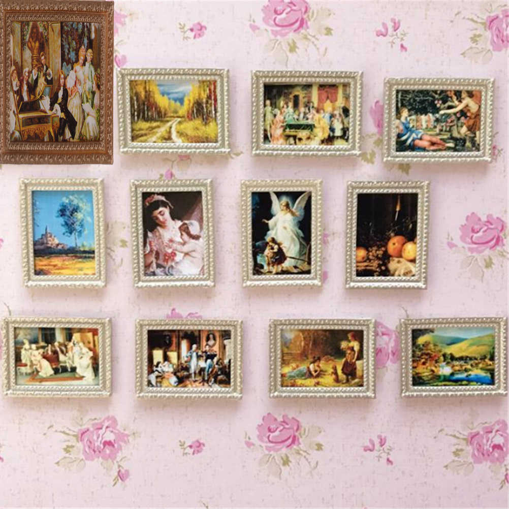1/12 Dollhouse Resin Miniature Vintage Frame Mural Wall Painting for Dolls House Living Room Bedroom Furniture Decor Acc Toys