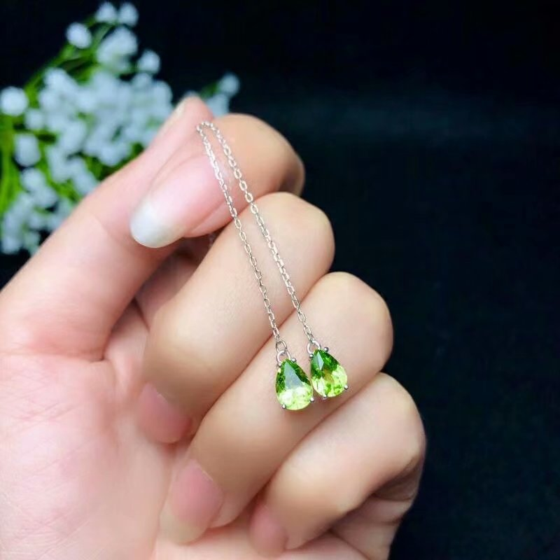 SHILOVEM 925 sterling silver PERIDOT stud earrings classic fine Jewelry women wedding plant GIFT wholesale new