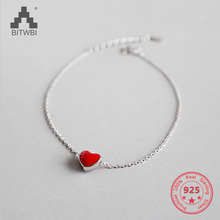 Authentic 925 Sterling Silver Jewelry Classic Red Heart-shaped Glaze Charm Bracelets for Women Couples