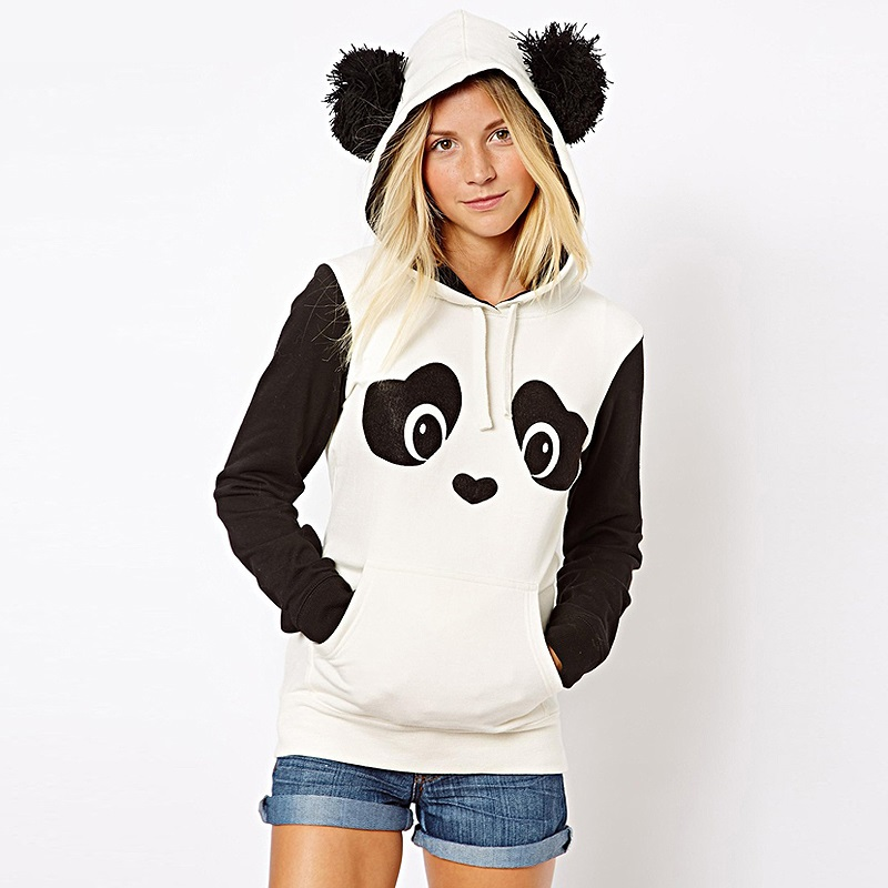 2015 autumn winter New panda hoodie jacket lady animal hoodie women panda sweatshirt with ears Cosplay Animal hoodies tracksuits