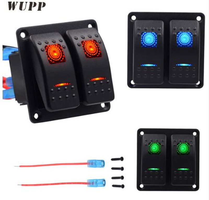 WUPP Double Lights Car Switch Headlight Fog Button Switches 5PIN ABS Panel 12V 20A 24V 10A