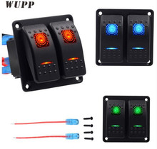 цена на WUPP Double Lights Car Switch Headlight Fog Button Switches 5PIN ABS Switch Panel 12V 20A 24V 10A Switches