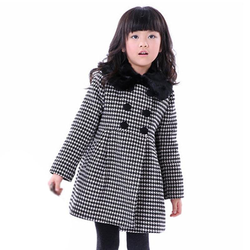 ФОТО Buenos Ninos Girl Autumn Winter Woolen Baby And Children Girls Houndstooth Wool Coat Jacket Children Outwear