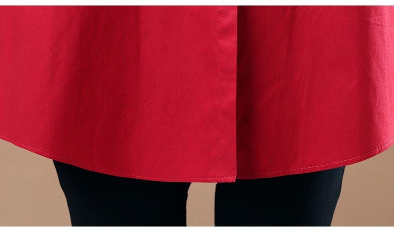 WAEOLSA Woman Casual Loose Shirt Blue Red Cotton Top Women Print Oversized Blouses Plus Size Top Lady Leisure Shirt Spring Autumn (14)