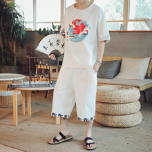 LOLDEAL Chinese Style Casual Sportswear Summer 2 Piece Set Short Sleeve Cotton and Linen Thin Section Men