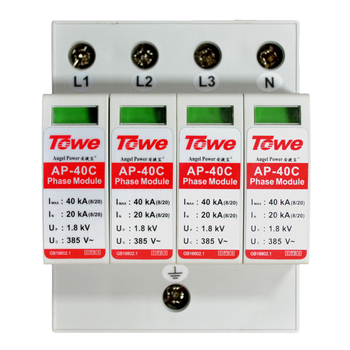 TOWE AP 40C 4P 40kA three phase surge protective device over voltage protector towe ap d20 1p n single phase overvoltage protector 1 1protect mode with npe overvoltage protector