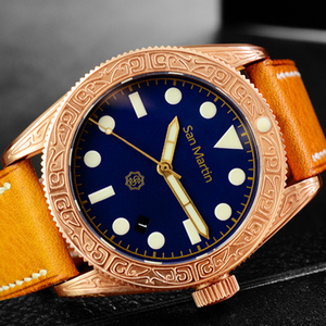 Image 4 - ผู้ชาย Vintage ดำน้ำนาฬิกา Vintage Bronze ดำน้ำแกะสลักนาฬิกาอัตโนมัติ 50ATM Multicolor หน้าปัด Retro Seagull Movement นาฬิกาข้อมือ