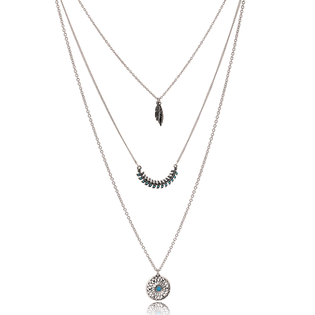 Dream Catcher Feathers Pendant Necklace Long Chain Jewellery for Women (3#) Iq1V2FS