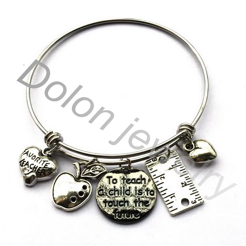 To Teach A Child Is To Touch The Future- Favourite Teacher Gift Apple Charm Expandable
