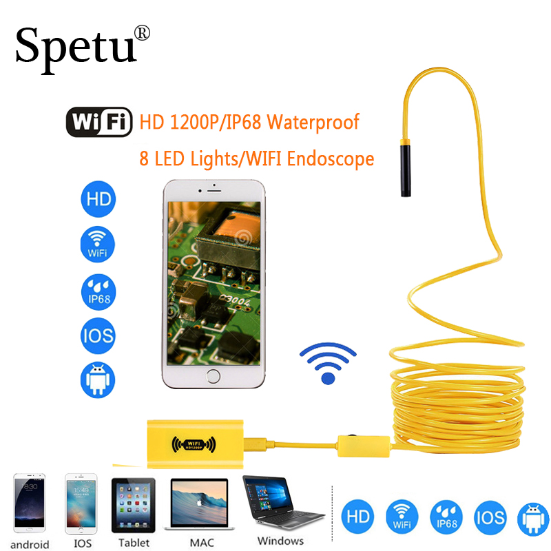 Surveillance Cameras Spetu 1200p Hd 2mp 8mm Wifi Endoscope Camera Mini Waterproof Hard Cable Inspection Camera Usb Borescope Ios Endoscope For Iphone To Clear Out Annoyance And Quench Thirst Video Surveillance