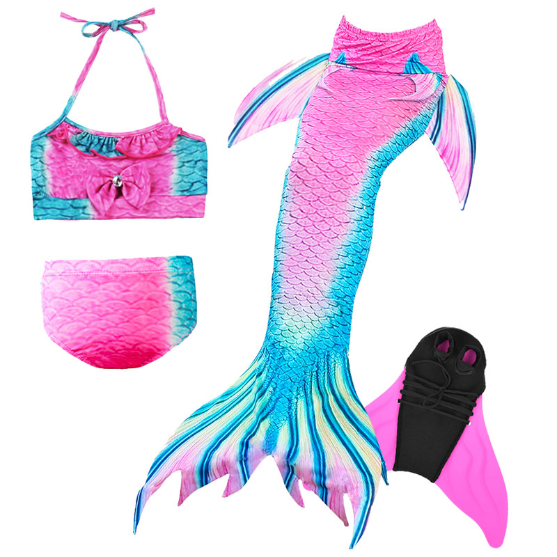 Girls-Mermaid-Tail-with-Swimming-Flipper-Swimable-Mermaid-Tail-Swimable-Monofin-Bikini-Swimwear-Children-Swimsuit-Diving(17)