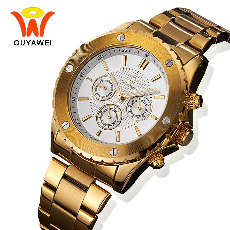 цена на Ouyawei 2017 Mens Self Winding Mechanical Watches Men Luxury Gold Metal Automatic Auto Day Date Top Brand Clock Man Wrist Watch