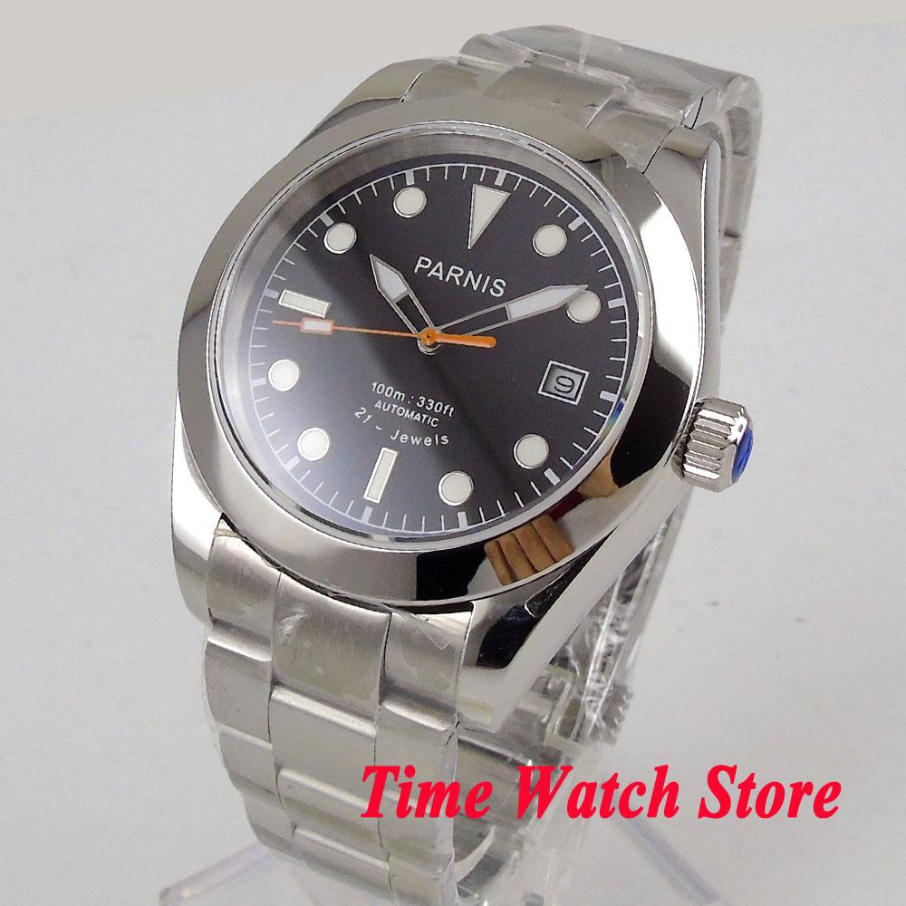 Solid Parnis 40mm men's watch sapphire glass black dial white marks luminous MIYOTA 8215 Automatic movement wrist watch men 1036 цена и фото