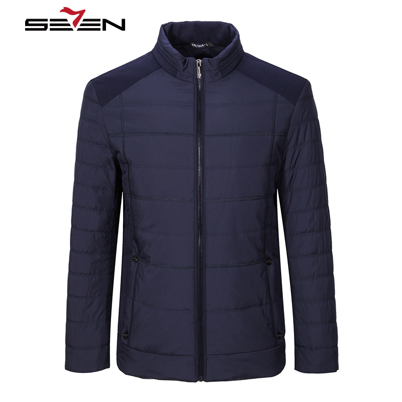 Seven7 Men Parka Warm Winter New Stand Collar Cotton Snow Outerwear Mens Jackets Casual Coats 2017 New Brand Clothing 111K20190