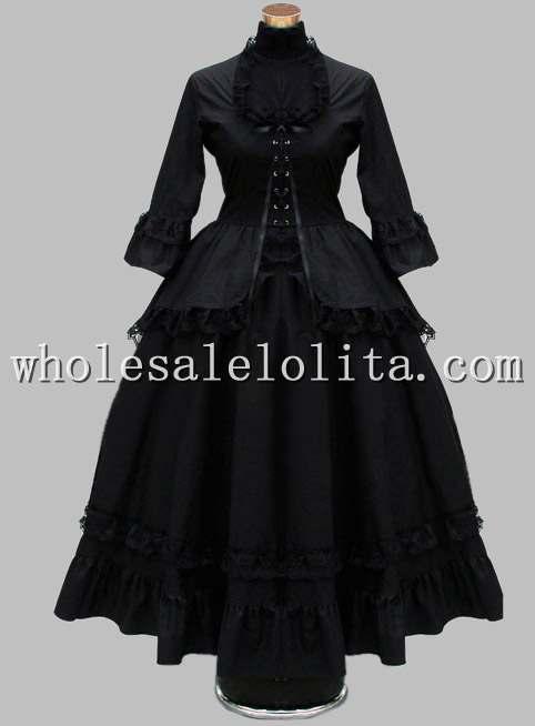 Готическое черное хлопковое кружевное британское викторианское платье сценический костюм - Цвет: Черный