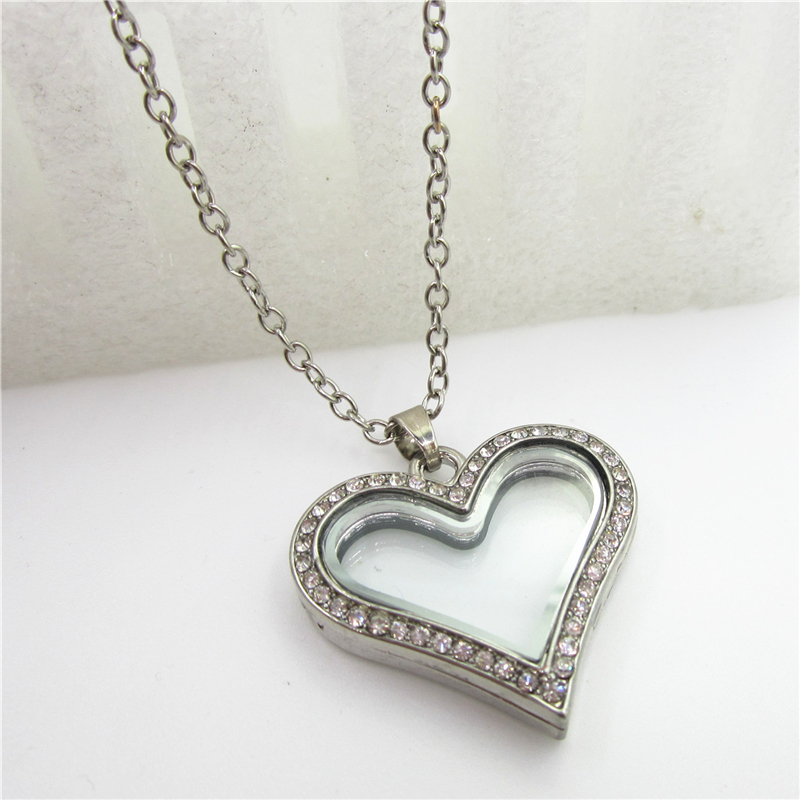 Rhinestone magnetic heat locket necklace Glass living locket pendant alloy floating lockets with 60cm chains necklace jewelry locket