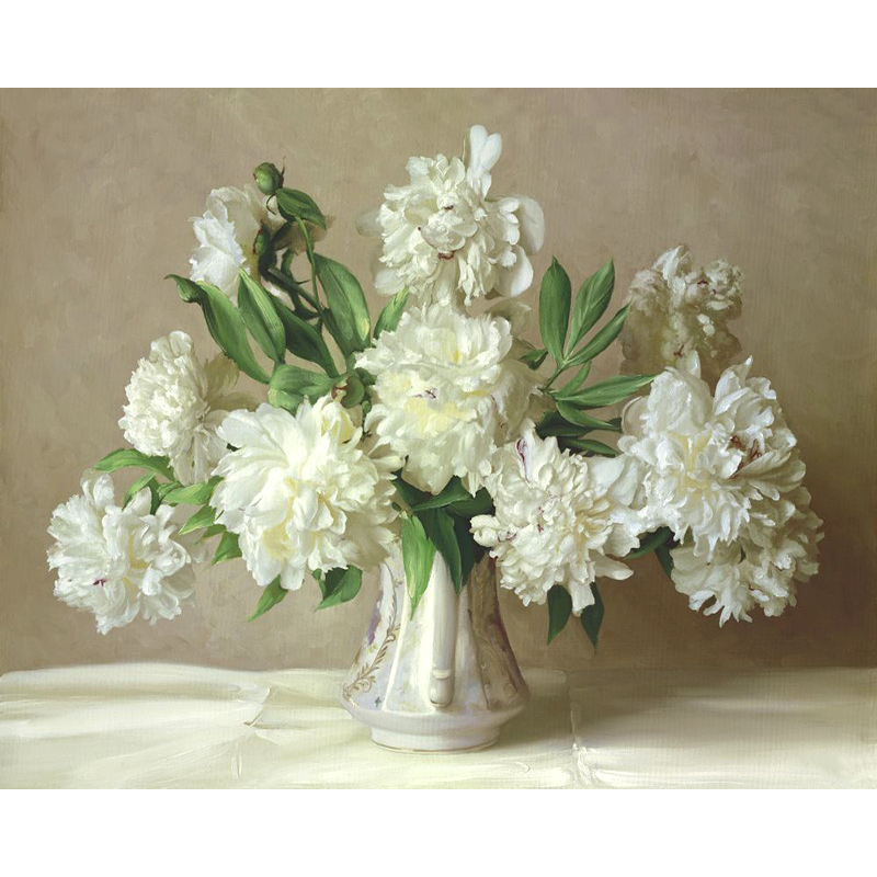 Framed Diy Paintings Paint By Number Kit White Peony Flowers Canvas