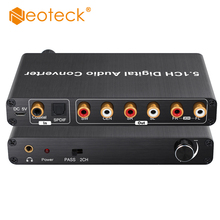 Neoteck 192kHz DAC Decoder 5.1CH Digital Audio Decoder Support AC 3/DTS Optical Coaxial to 6 RCA 3.5mm Jack Audio Adapter