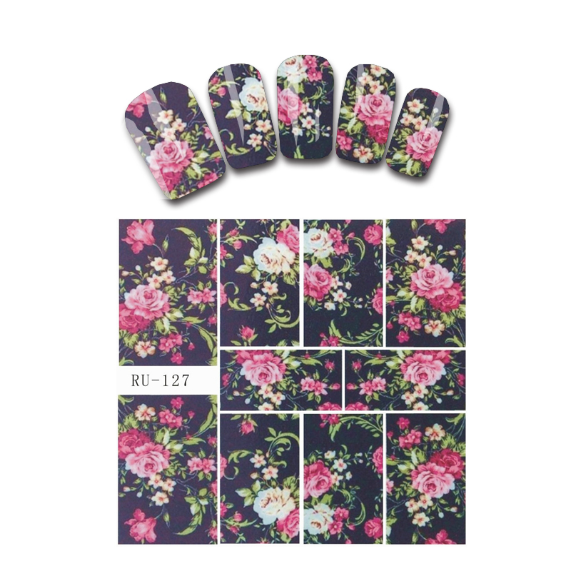 Nail Sticker WATER DECAL HALLOWEEN HEAD BONE ROSE FLOWER MORNING GLORY EVENING PRIMROSE BUTTERFLY ORCHID RU127-132 halloween butterfly wings head band wand white 3 piece set